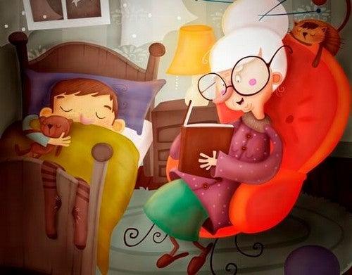 bedstemor læser godnathistorie