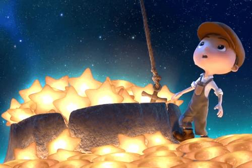 lille dreng på månen