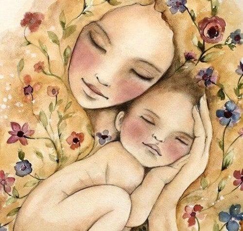 mor omfavner baby