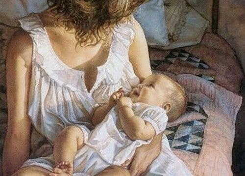 baby smiler til mor
