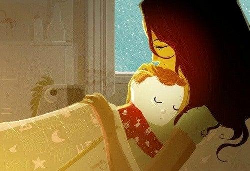 mor og søn ved sengetid