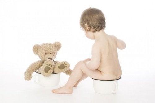 barn og bamse sidder på potte