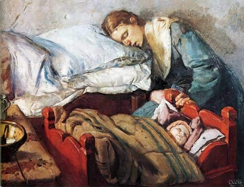 træt mor og baby sover
