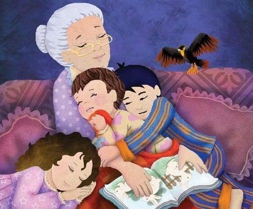 bedstemor læser for børnebørn