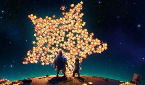 Kigger på stjerner og månen
