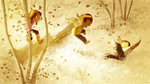 3 børn leger i en skov. lær dit barn respekt.