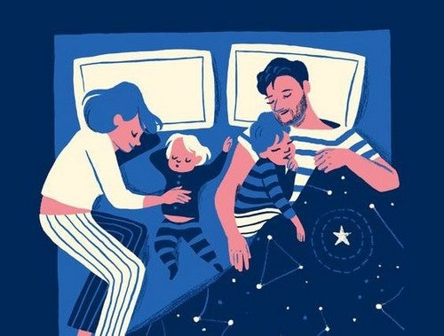 forældre og børn sover sammen