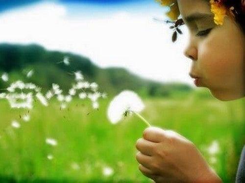 barn puster på en mælkebøtte