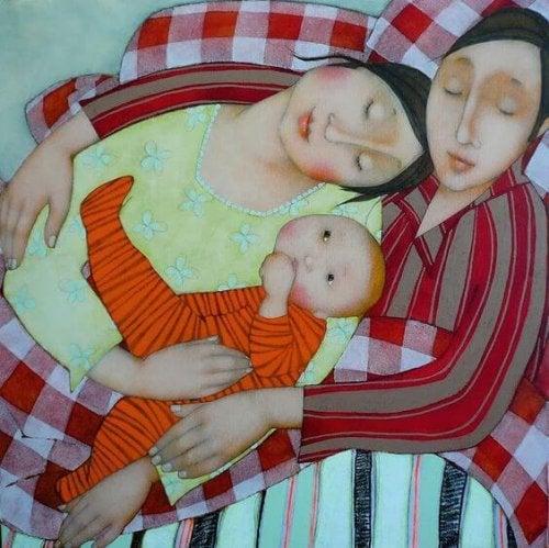 Glad familie maleri