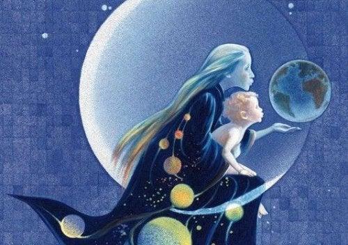 Mor og baby på månen