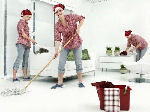 mor gør rent i hjemmet