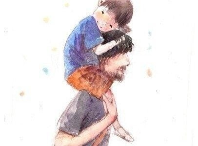 Far med søn på skuldrene