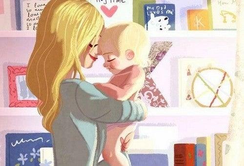mor og baby krammer hinanden
