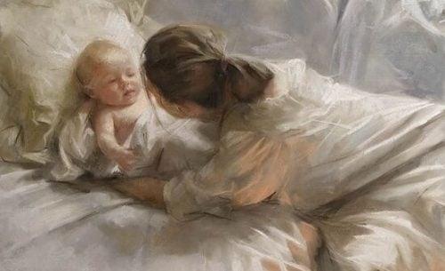 Maleri af mor og baby