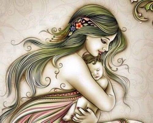 mor krammer sin lille baby