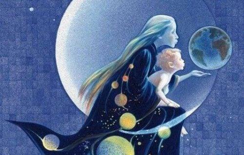 Mor og baby mod månen