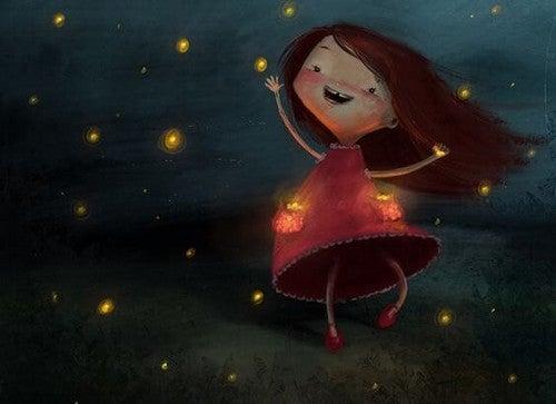 lille pige danser under stjernerne
