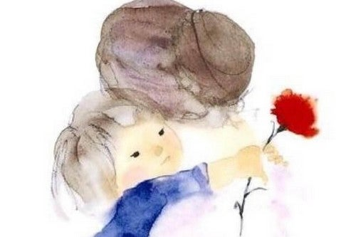 tegning af mor, der krammer barn, der holder en blomst