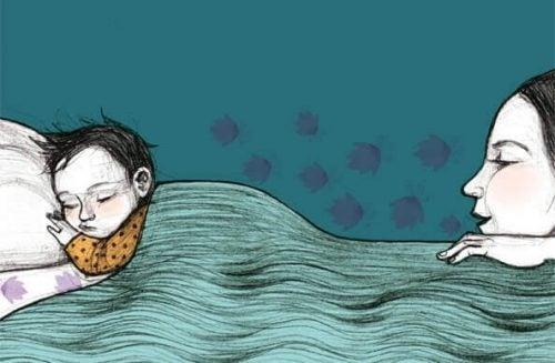 Mor ved barn til sengetid