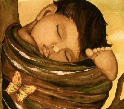 Barn sover i fosterstilling