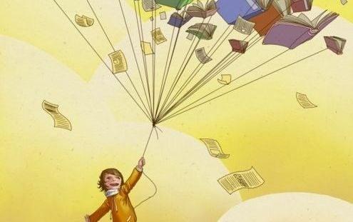Barn med mange bøger