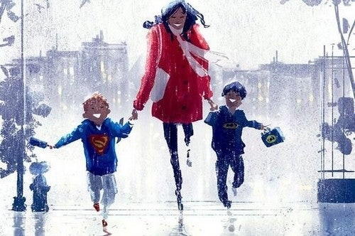 mor går tur med sine børn
