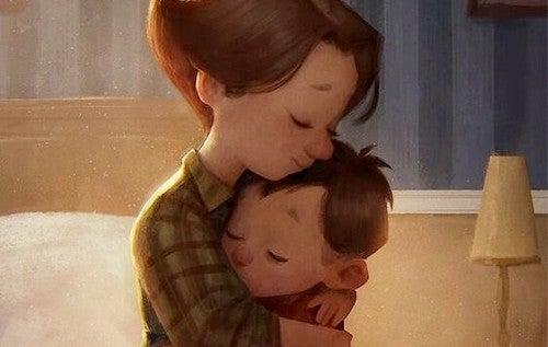 mor krammer sin søn