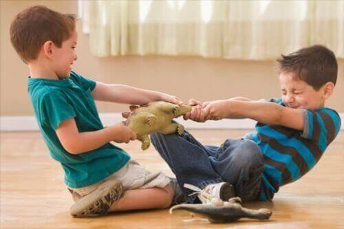 drenge der kæmper om legetøj