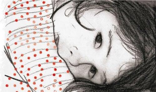 tegning af pige med rødprikket trøje