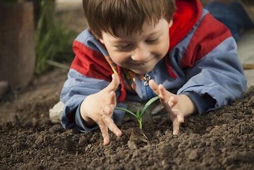 Dreng tilbringer tid i naturen