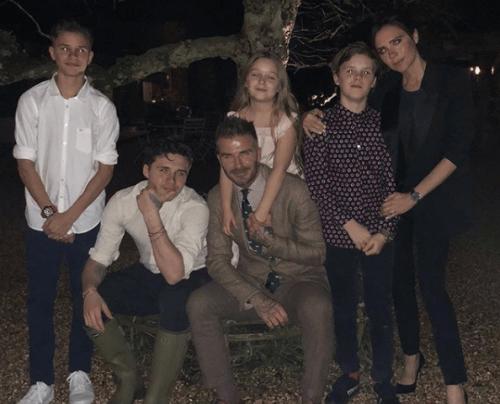 David og Victoria Beckham sammen med deres børn