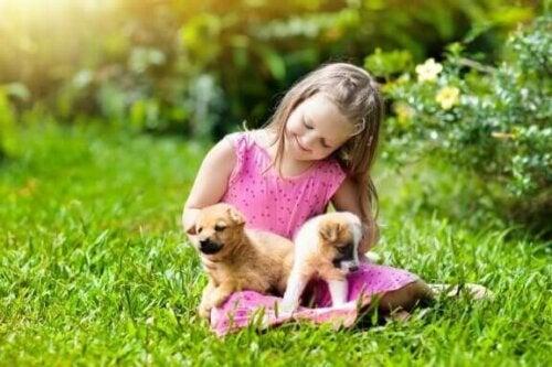 pige med to små hunde