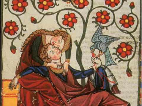 maleri af lykkeligt par
