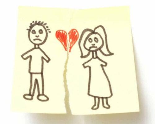 overrevet tegning af ulykkeligt par