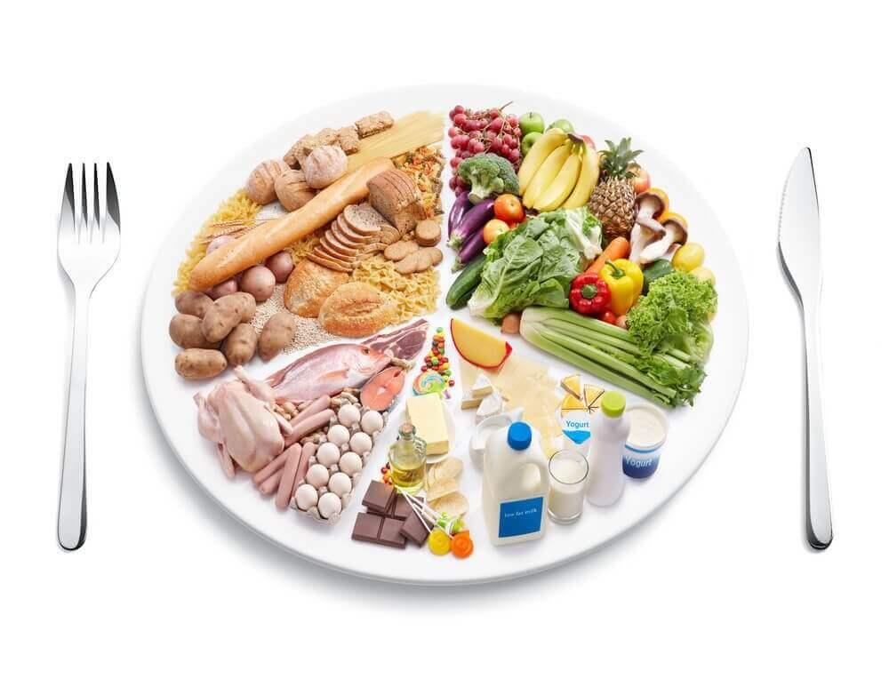 Sådan bekæmper du cellulitis: Sunde madvarer på en tallerken.