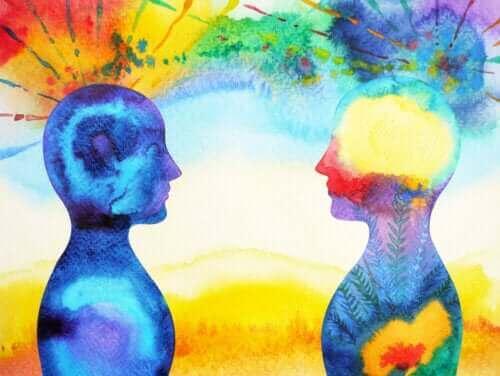 abstrakt billede af to skikkelser